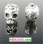 Skull Bead - Antique Silver Plated Lead Free Pewter.  Made in the USA.